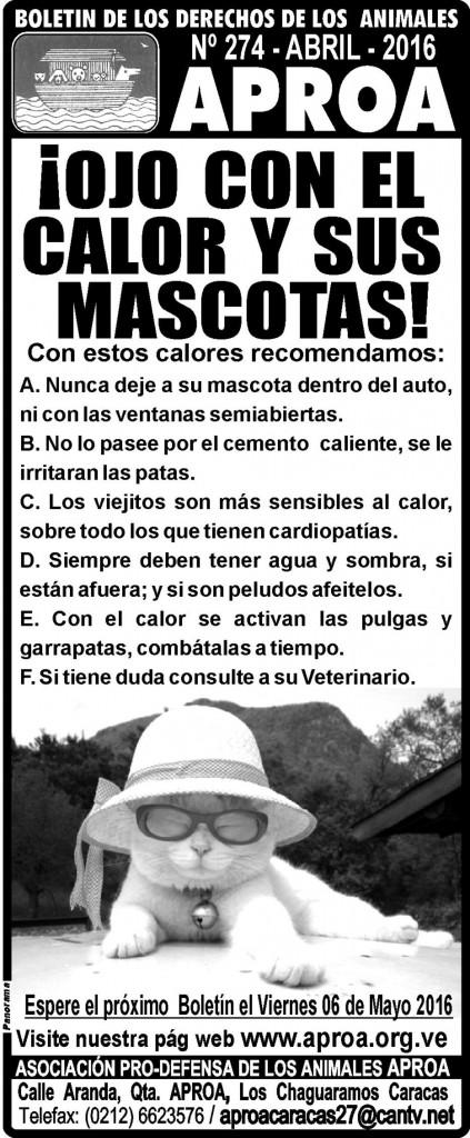 BOLETÍN DE LOS DERECHOS ANIMALES. Nº 274. Abril 2016.